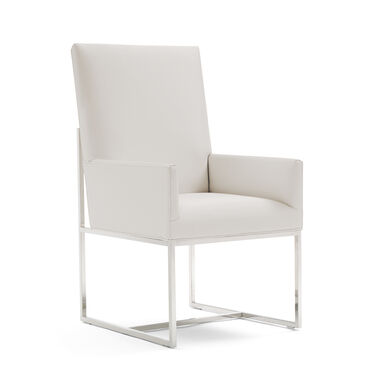 GAGE TALL ARM DINING CHAIR - POLISHED STAINLESS STEEL, KOKO - WHITE, hi-res