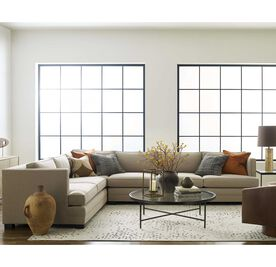 KEATON SHELTER RIGHT ARM SECTIONAL CLASSIC DEPTH WITH NAILHEAD, Tone on Tone Chenille - TAUPE, hi-res