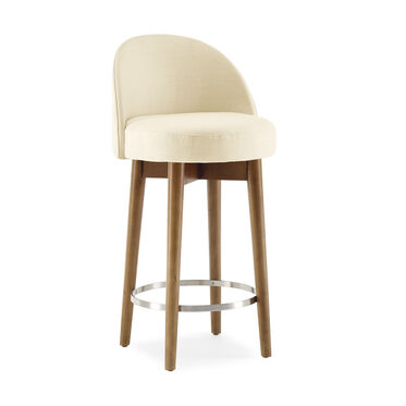 MARGAUX SWIVEL BAR STOOL, PERFORMANCE LINEN - CREAM, hi-res