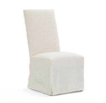 JULIA TALL SIDE DINING CHAIR - SLIPCOVER, BELGIAN LINEN - WHIT, hi-res