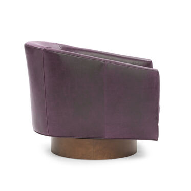 BIANCA FULL SWIVEL LEATHER CHAIR, MONT BLANC - AUBERGINE, hi-res