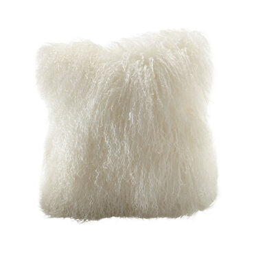 TIBETAN WOOL IVORY 20 IN. SQUARE THROW PILLOW, , hi-res