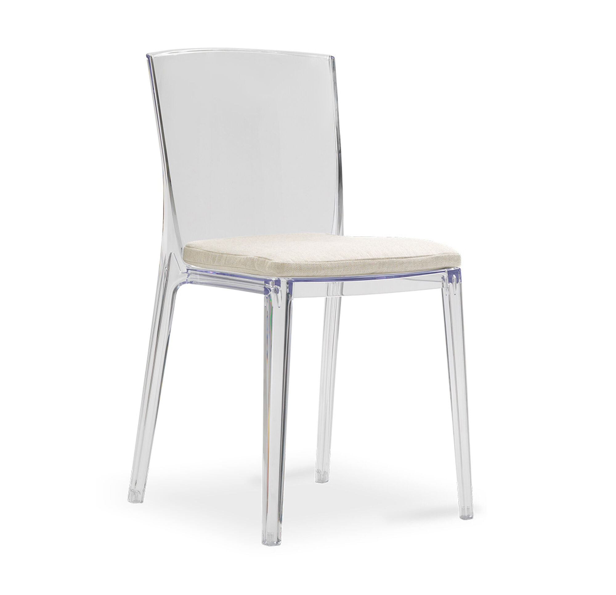 alain clear side dining chair with cushion
