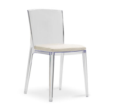 ALAIN CLEAR SIDE DINING CHAIR WITH CUSHION, TERRACE - ALMOND, hi-res