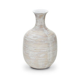 GROOVED TALL WHITE VASE, , hi-res