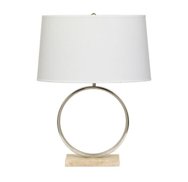 MARCO TABLE LAMP - POLISHED NICKEL  WITH WHITE SHADE, , hi-res