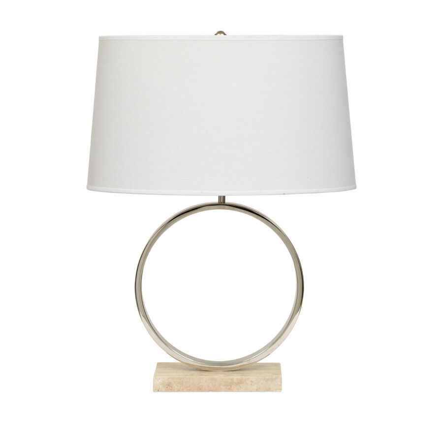 MARCO TABLE LAMP   POLISHED NICKEL WITH WHITE SHADE, , Hi Res