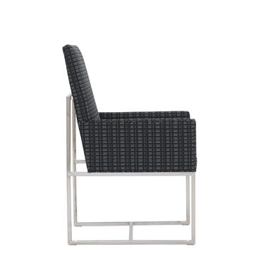 GAGE LOW ARM DINING CHAIR, DOT DASH - GRAPHITE, hi-res