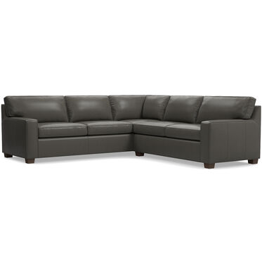 ALEX LEATHER SECTIONAL SOFA, MANCHESTER - GRAPHITE, hi-res