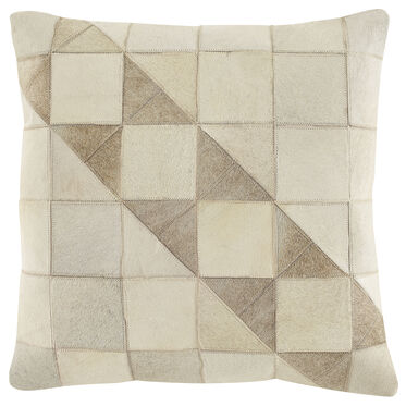 TONAL TRAINGLES COW HIDE PILLOW 22 X 22, , hi-res