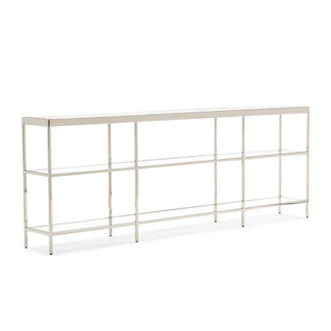 VIENNA LOW BOOKCASE LARGE- POLISHED STAINLESS STEEL, , hi-res