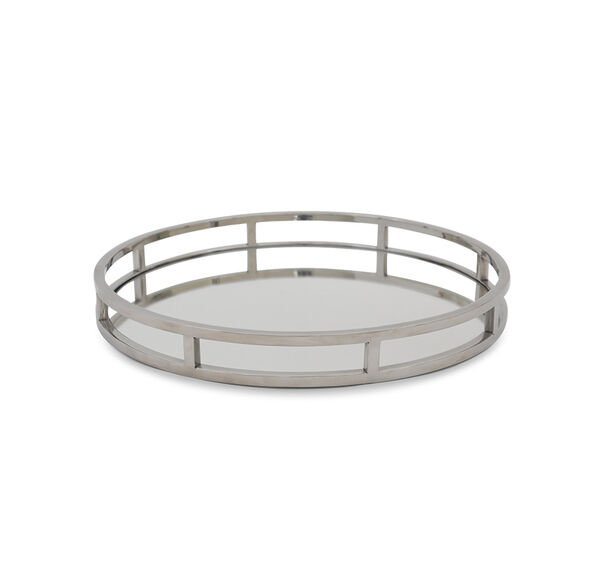 LUXE ROUND STAINLESS STEEL MIRROR TRAY, , hi-res