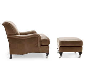 LONDON LEATHER OTTOMAN, MONT BLANC - TOFFEE, hi-res