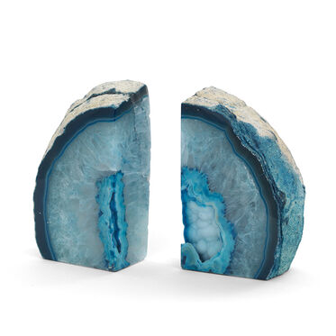 AGATE BLUE LARGE BOOKENDS, , hi-res