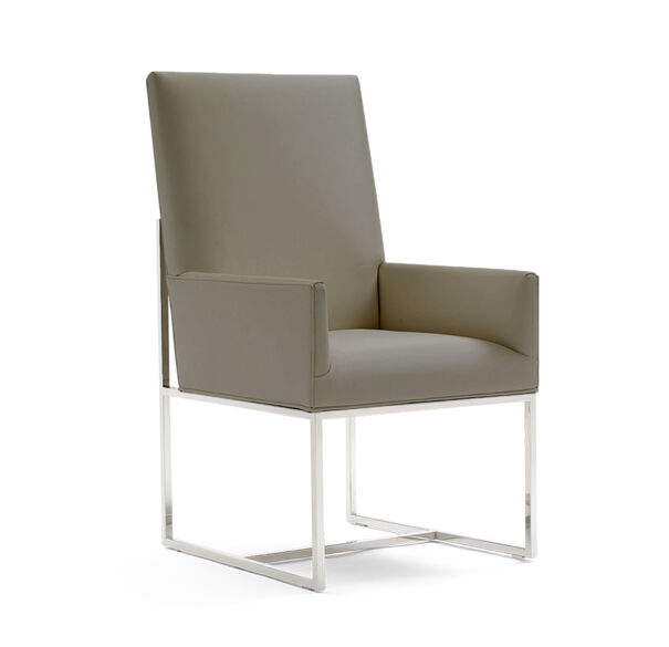 GAGE TALL ARM DINING CHAIR, ALLOY - GUNMETAL, hi-res