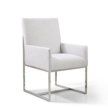 GAGE LOW ARM DINING CHAIR - POLISHED STAINLESS STEEL, SOL - SILVER, hi-res