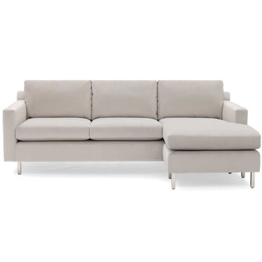 HUNTER STUDIO NO WELT 85 RIGHT CHAISE SECTIONAL, PIPPIN - SILVER, hi-res
