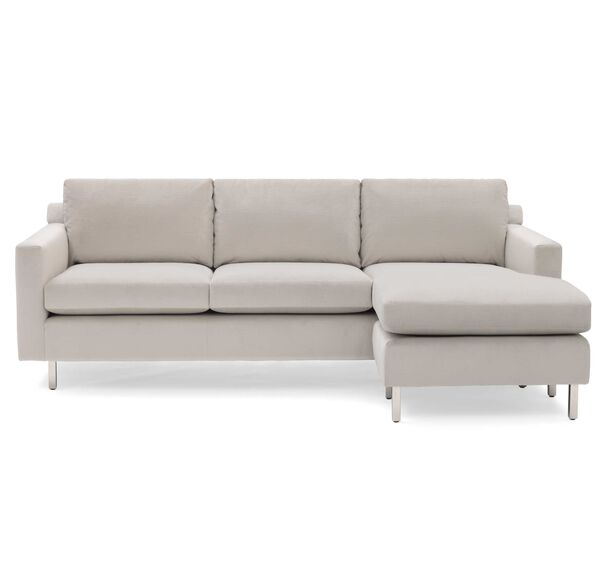 HUNTER STUDIO NO WELT 95 RIGHT CHAISE SECTIONAL, PIPPIN - SILVER, hi-res