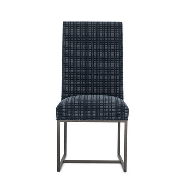 GAGE TALL DINING CHAIR - PEWTER, DOT DASH - NAVY, hi-res