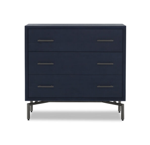 MING 3 DRAWER CHEST - INDIGO / PEWTER, , hi-res