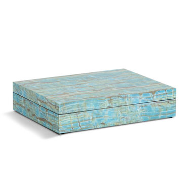 TURQUOISE FAUX ONYX LACQUER BOX, , hi-res