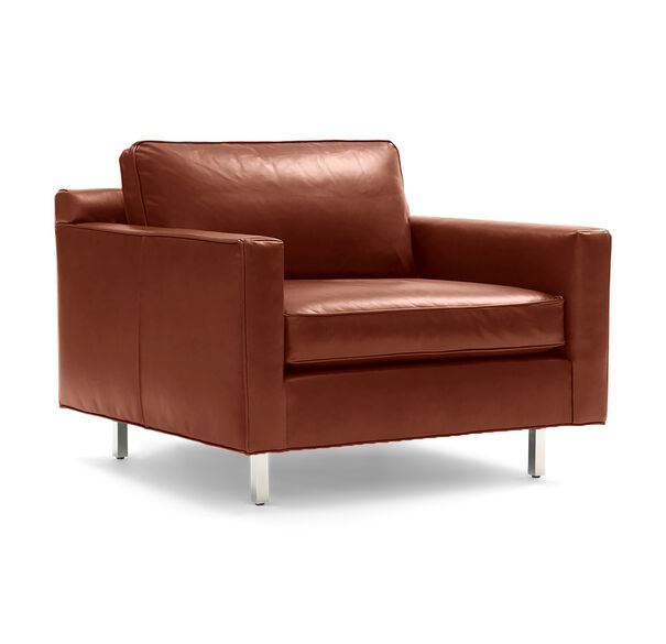 HUNTER LEATHER CHAIR, Mont Blanc - Italian Leather - Chianti, hi-res