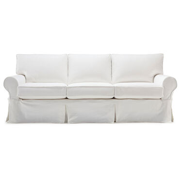 ALEXA II LUXE QUEEN SLIPCOVER SLEEPER SOFA, BULL DENIM - WHITE, hi-res