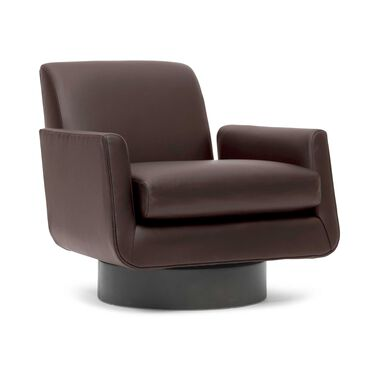 SUPERNOVA LEATHER RETURN SWIVEL CHAIR, TRIBECA - ESPRESSO, hi-res