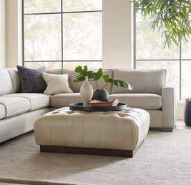 MILLER SQUARE LEATHER OTTOMAN
