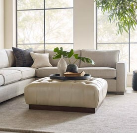 MILLER SQUARE LEATHER OTTOMAN, MONT BLANC - IVORY, hi-res