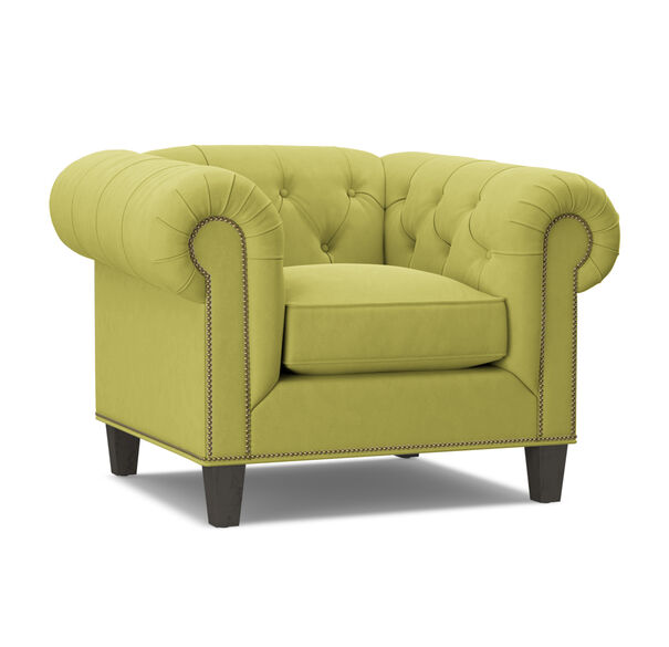 ADDISON CHAIR WITH NAILHEAD, BOULEVARD - CHARTREUSE, hi-res