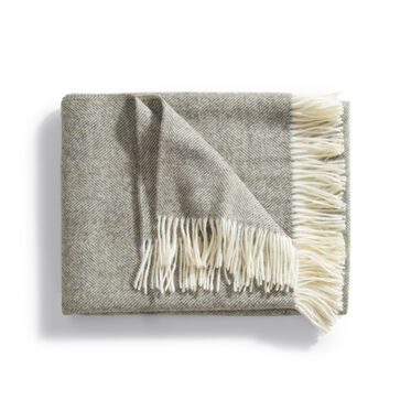 HERRINGBONE THROW - VINTAGE GRAY, , hi-res