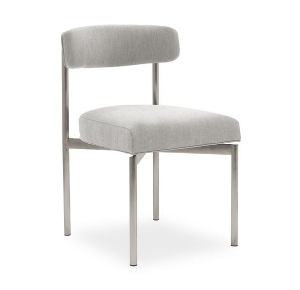 REMY DINING CHAIR - BRUSHED STAINLESS STEEL, Sunbrella Performance Basket Weave - PEWTER                             , hi-res