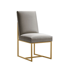 GAGE LOW DINING CHAIR - BRUSHED BRASS, Vinyl - STEEL, hi-res
