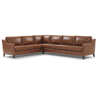 GIGI LEATHER LEFT SECTIONAL, DURHAM - OAK, hi-res