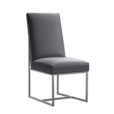 GAGE TALL DINING CHAIR - BRUSHED STAINLESS STEEL, KOKO - CHARCOAL, hi-res