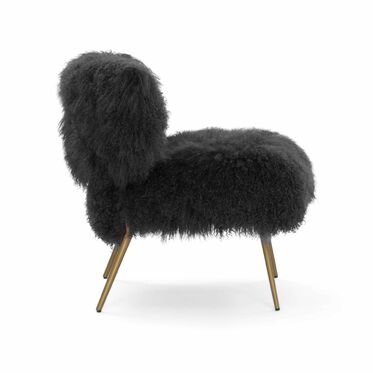 FIFI TIBETAN WOOL CHAIR, TIBETAN FUR - BLACK, hi-res