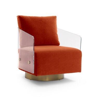 LUCY FULL SWIVEL CHAIR, VIVID - VERMILION, hi-res