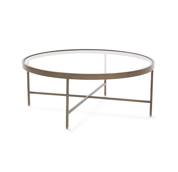 Antique Brass And Glass Round Coffee Table: VIENNA ANTIQUE BRASS ROUND COCKTAIL TABLE
