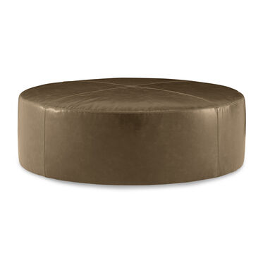 FRANNY ROUND LEATHER OTTOMAN, MONT BLANC - TOFFEE, hi-res