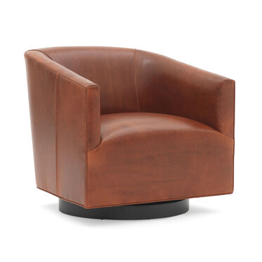 COOPER STUDIO LEATHER RETURN SWIVEL CHAIR, MONT BLANC - CHIANTI, hi-res