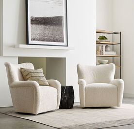 HUXLEY SWIVEL CHAIR, SHERPA - NATURAL, hi-res