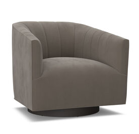 COOPER STUDIO CHANNEL TUFTED SWIVEL CHAIR, Performance Micro Velvet - CAFE, hi-res