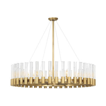PERLA ROUND CHANDELIER - VINTAGE BRASS AND CHAMPAGNE CRYSTAL, , hi-res