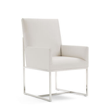 GAGE LOW ARM DINING CHAIR - POLISHED STAINLESS STEEL, KOKO - WHITE, hi-res