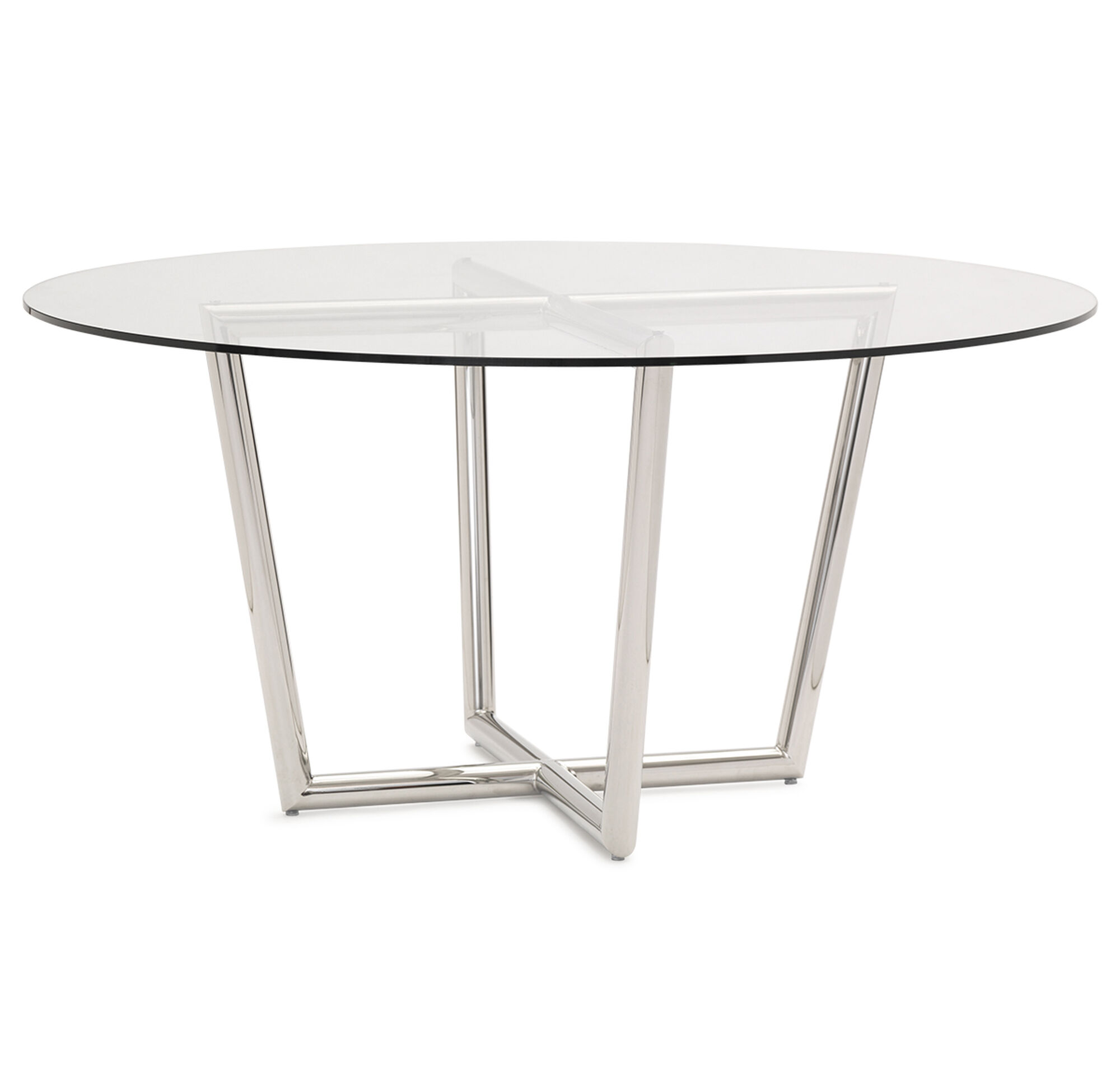 Modern Round Dining Table Polished Stainless Steel Hi Res