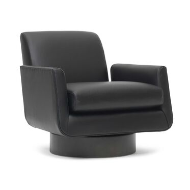 SUPERNOVA LEATHER RETURN SWIVEL CHAIR, TRIBECA - BLACK, hi-res