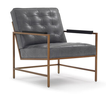 MAJOR LEATHER ARM CHAIR, HIGHLAND - DENIM, hi-res