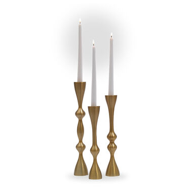 CURVED CANDLEHOLDER - BRASS, , hi-res