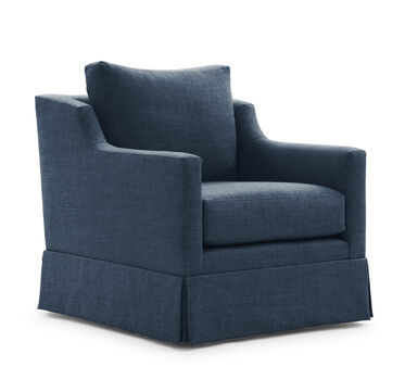 GIGI SKIRTED FULL SWIVEL CHAIR, BELGIAN LINEN - HARB, hi-res
